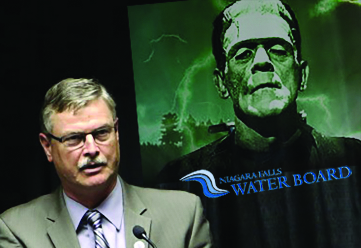 Paul Dyster voted to create the Niagara Falls Water Board which ceded control of the city's water supply - and the right to set the rates for water in this city famous for abundance of fresh water - to Albany - in order to escape the short term political consequences of having to raise water rates in 2002. Now rates are out of control and the city is powerless to do anything about it. You have to hand it to the uninformed voters of Niagara Falls: they rewarded perhaps the most incompetent, politically expedient and extravagant [with taxpayers' money] mayor in Niagara Falls history [he blew through $100 million in casino cash]. The voters elected and reelected Dyster three times. In this artist's conception, Mayor Dyster [left] is depicted telling the people of Niagara Falls how wonderful a job he has done for them while a Niagara Falls Water Board member [right] looks on. [Not a real picture].