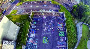 An aerial view of the Sweet Chalk event