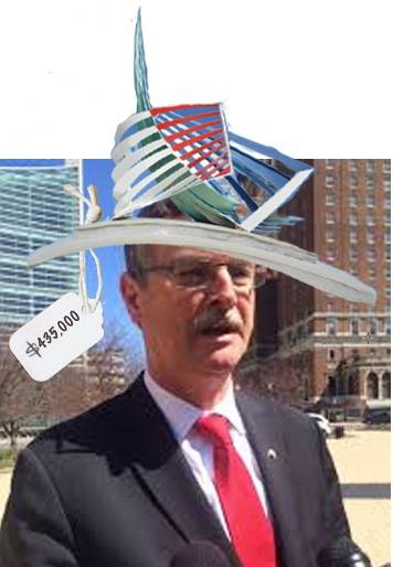 Minnie Pearl he ain't, but you must admit, the Mayor does look quite comely sporting his new custom headgear.
