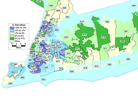 State Assembly districts gerrymandered downstate to hold fewer Democrats, ergo, more districts.