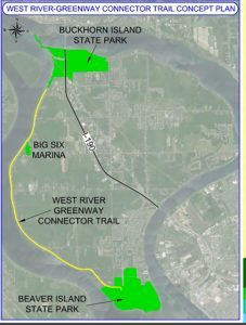 The proposed West River bike path will connect two state parks.