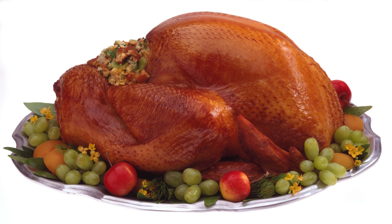 Turkey with dressing on silver platter