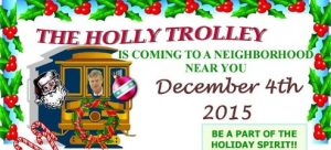 Last year's Holly Trolley, promoted far and wide by City Hall and Old Falls Street USA, scrooged out by skipping a promised stop at City Market, kids there getting a lump of coal. Note (above) image, Mayor Dyster's face appears in the trolley.