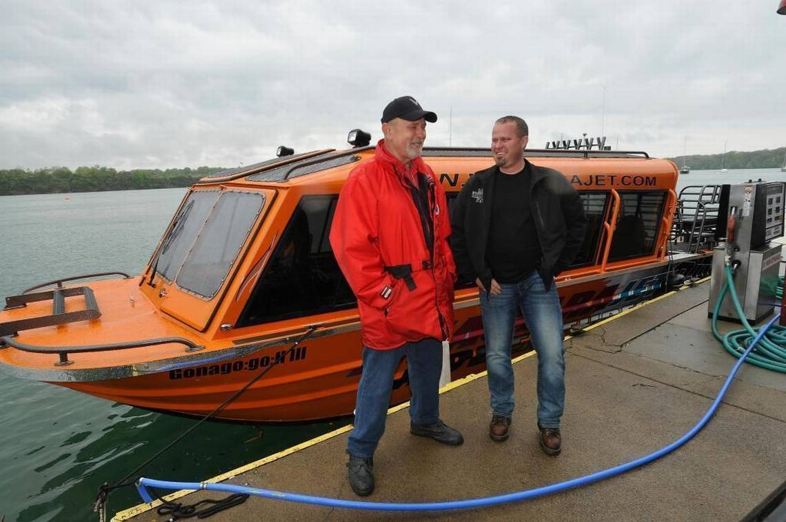 Christopher Bohnenkamp, right, is shown in this 2015 photo with former co-owner of Niagara Jet Adventures, Mike Fox, at their Youngstown dock. Mr. Fox is now one of those suing Mr. Bohnenkamp.