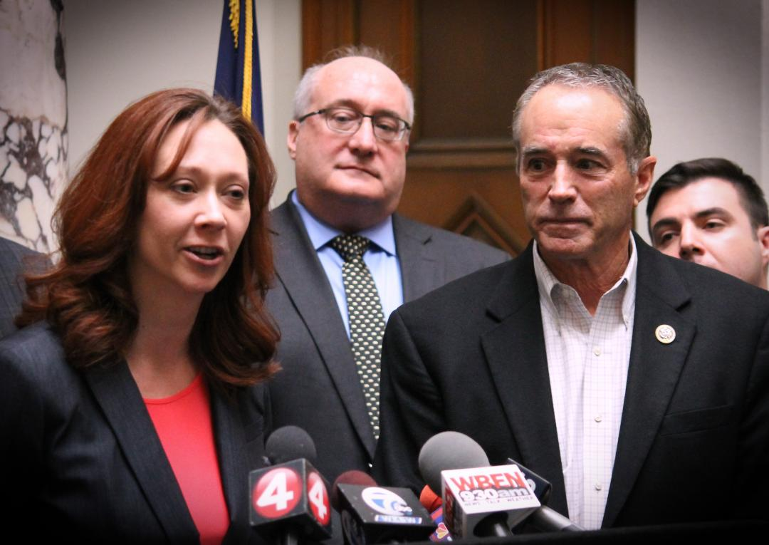 Niagara County Legislator Rebecca Wydysh, R-Lewiston, speaks to reporters in this file photo. She is joined in the photo by U.S. Rep. Chris Collins, R-Clarence, a prominent opponent of Gov. Andrew M. Cuomo's SAFE Act gun control law.