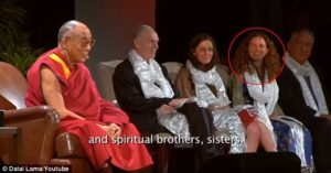 Dalai Lama in Albany NY. Also seen are Clare Bronfman and Sara Bronfman