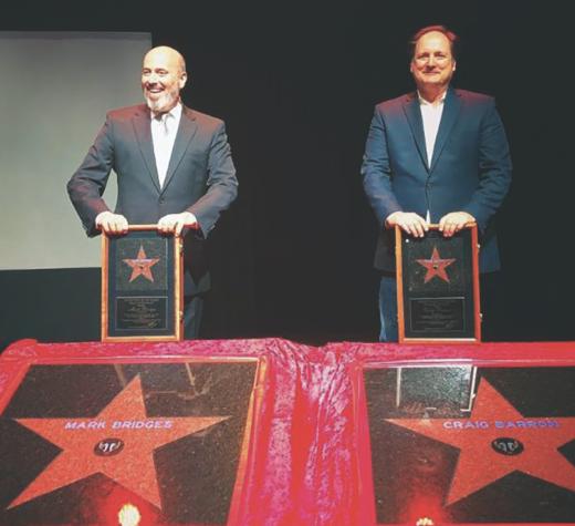 A photo from the 2018 Film Festival in Niagara Falls honoring Academy Award Winners Mark Bridges (left) and Craig Barron (right).