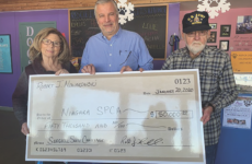From left, Board President Susan Agnello-Eberwein, Executive Director Tim Brennan and Army Veteran Bob Nowakowski. Nowakowski donated a total of $100,000 over the course of a few months to help fund the shelter's new surgical suite.